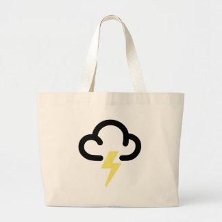 Lightning storm: retro weather forecast symbol large tote bag