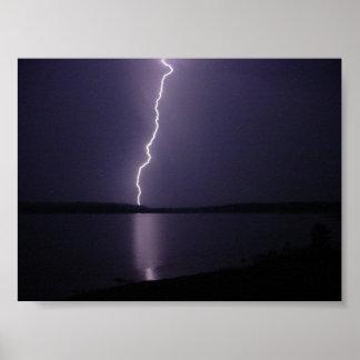 Lightning Strike Over Round Lake, New York Poster