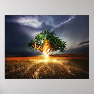 Lightning strike tree art poster