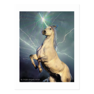 Lightning Strike Unicorn Postcard