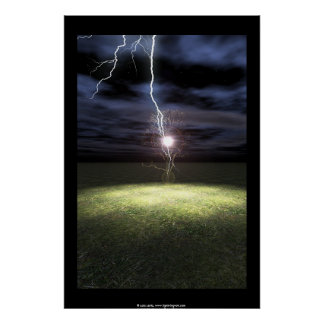 Lightning Strikes a Tree Poster