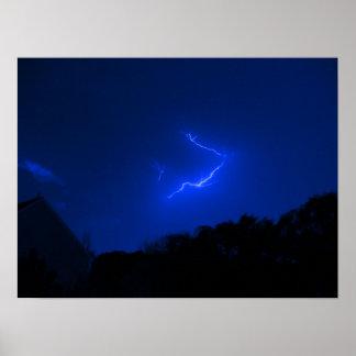 Lightning Strikes Blue Poster
