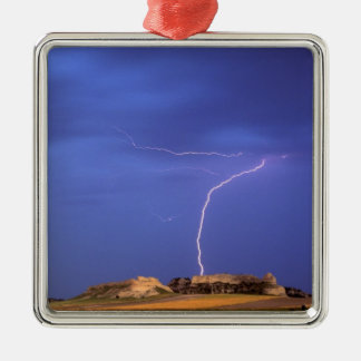 Lightning strikes buttes near Scottsbluff Christmas Ornament
