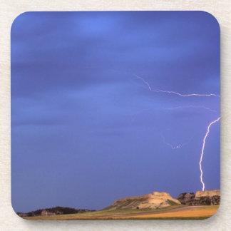 Lightning strikes buttes near Scottsbluff Coaster