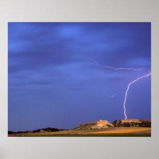 Lightning strikes buttes near Scottsbluff Poster
