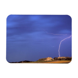 Lightning strikes buttes near Scottsbluff Rectangular Photo Magnet