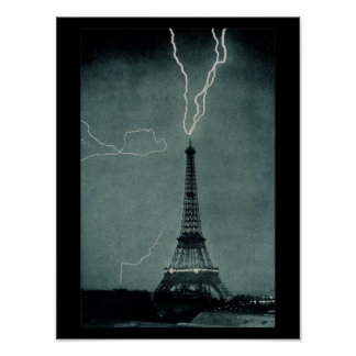 Lightning Strikes Eiffel Tower Vintage Photograph Poster