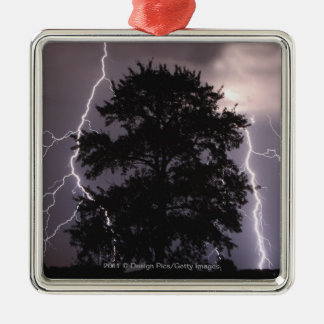 Lightning Strikes In The Sky Behind A Tree Christmas Ornament