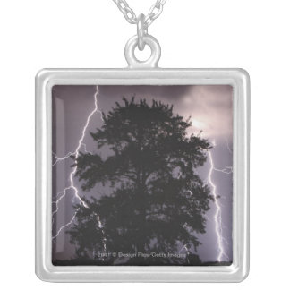 Lightning Strikes In The Sky Behind A Tree Silver Plated Necklace