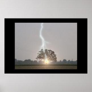 Lightning Strikes Oak Tree Poster