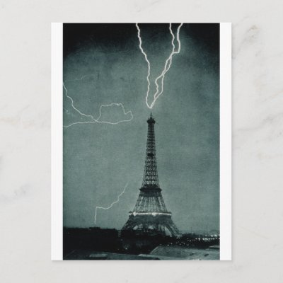 Eiffel Tower Lightning Strike Picture on Lightning Strikes The Eiffel Tower  1902 Postcards   Zazzle Co Uk