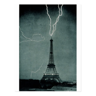 Lightning Strikes the Eiffel Tower, 1902 Postcard
