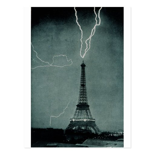Lightning Strikes the Eiffel Tower, 1902 Postcards