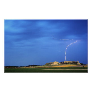 Lightning strikes the Wildcat Hills near Poster
