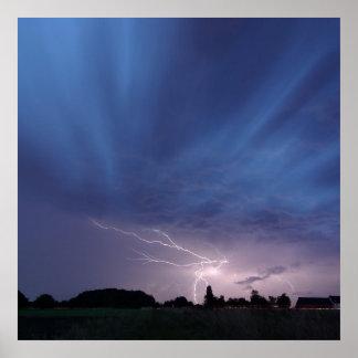 Lightning Striking During Thunderstorm Posters