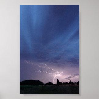 Lightning Striking During Thunderstorm Poster