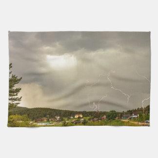 Lightning Striking Over Rollinsville Colorado Kitchen Towels