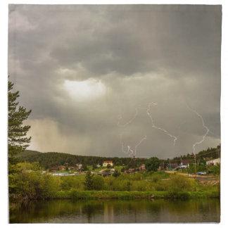 Lightning Striking Over Rollinsville Colorado Napkins