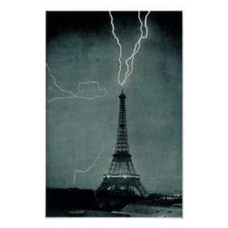 Lightning striking the Eiffel Tower, Paris France Poster