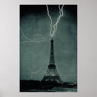 Lightning striking the Eiffel Tower Poster