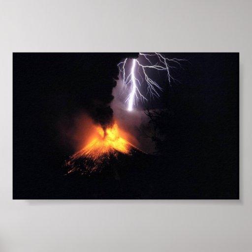 Lightning Strke over Volcano Indonesia Poster
