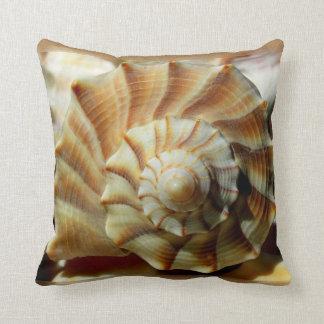 Lightning Whelk Seashell Spiral Pillow