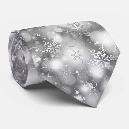 Lights and Snowflakes, Silver - Christmas Ties, Tie