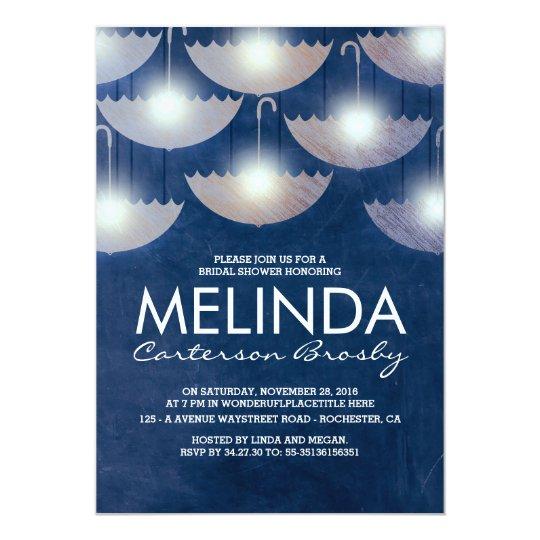 Lights and Umbrellas Navy Blue Bridal Shower Card