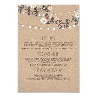 Lights Branch Wedding Details - Information 9 Cm X 13 Cm Invitation Card