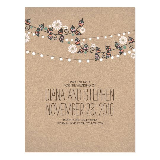 Lights Branches Boho Modern Save the Date Postcard