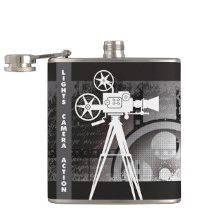 Lights, Camera, Action Flask, Movie Theme Hip Flask