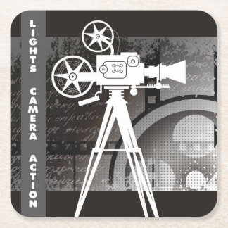 Lights, Camera, Action Movie Disposable Coaster Square Paper Coaster