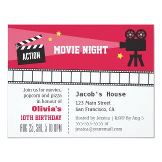 Lights Camera Action Movie Night Birthday Party 11 Cm X 14 Cm Invitation Card
