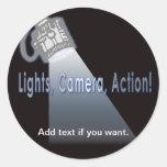 """""""Lights, Camera, Action!"""" Round Sticker"""
