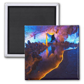 Lights in Reed Flute Cave, China Square Magnet