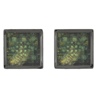 Lights in the City Abstract Art Gunmetal Finish Cuff Links
