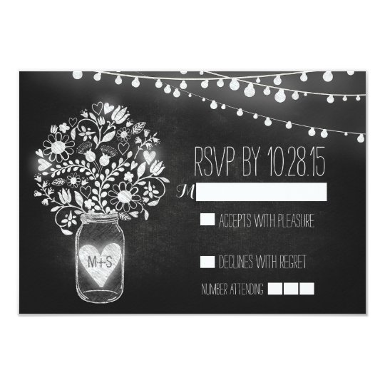 Lights mason jar chalkboard wedding RSVP cards