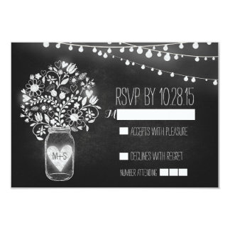 Lights mason jar chalkboard wedding RSVP cards 9 Cm X 13 Cm Invitation Card