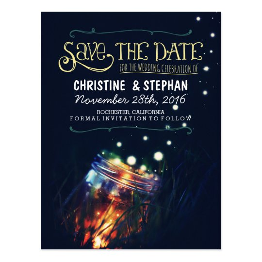 lights mason jar rustic romantic save the date