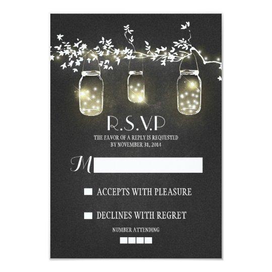 Lights mason jars chalkboard RSVP cards