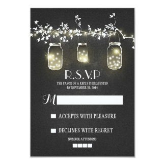 Lights mason jars chalkboard RSVP cards