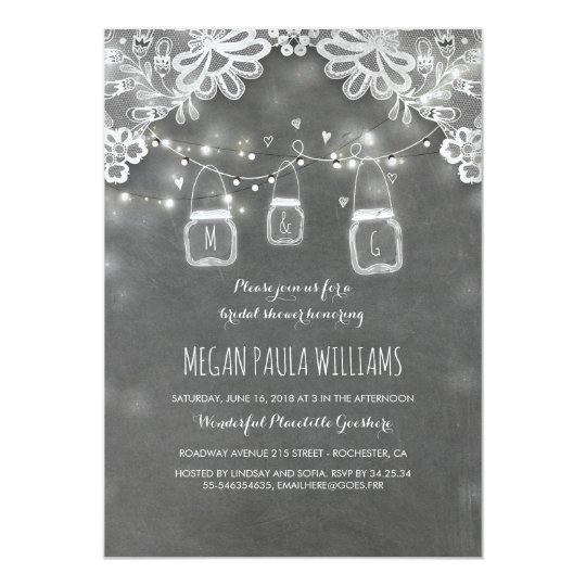 Lights Mason Jars Lace Rustic Bridal Shower Card