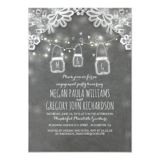 Lights Mason Jars Lace Rustic Engagement Party Card