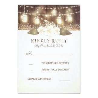 Lights Mason Jars Rustic Wood Barn Wedding RSVP 9 Cm X 13 Cm Invitation Card