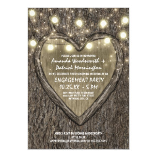 Lights Oak Tree Bark Engagement Party Invitations