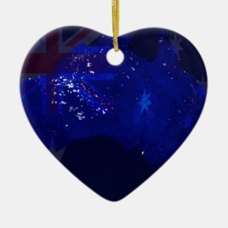 Lights of Australia from Space and Flag. Christmas Ornament