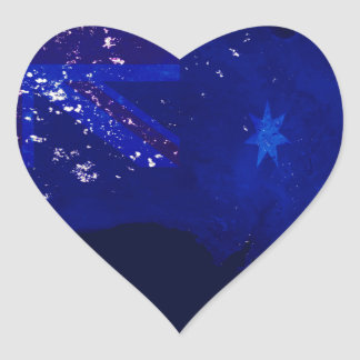 Lights of Australia from Space and Flag. Heart Sticker