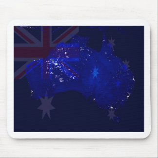 Lights of Australia from Space and Flag. Mouse Mat