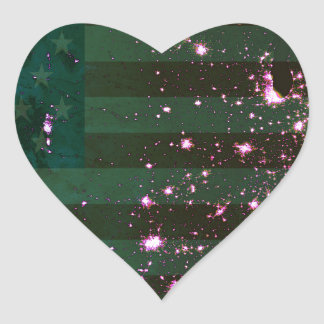 Lights of the United States from Space and Flag. Heart Sticker