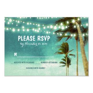 lights & palm trees beach teal wedding RSVP cards